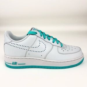 Nike Air Force 1 07 Womens Gray Turquoise Shoes